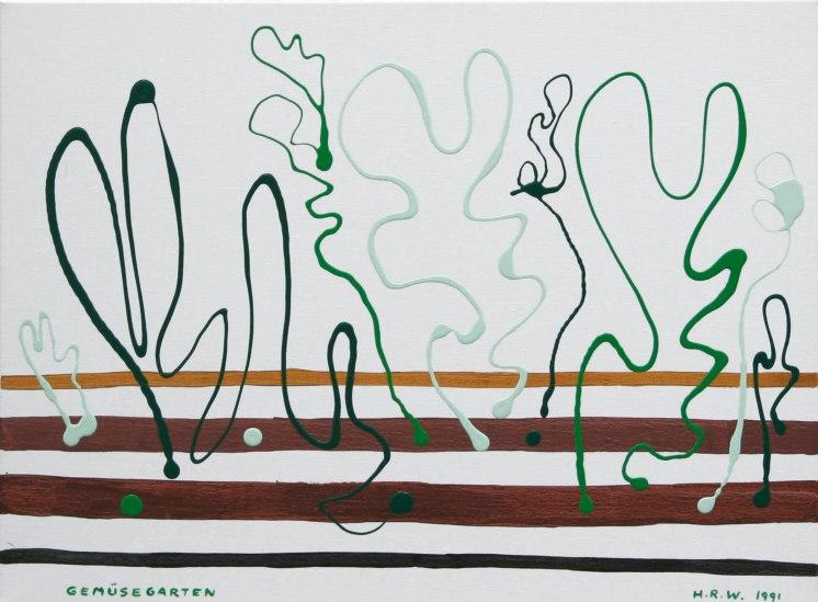 1991-027, Gemüsegarten, Dekalack auf Leinwand, 60 x 81 cm