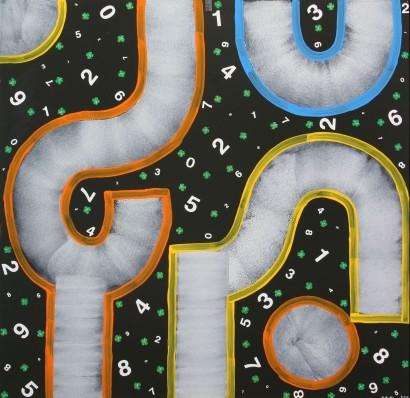 2002-049, Glückszahlen, Dekalack, Collage auf Forex, 122 x 125
