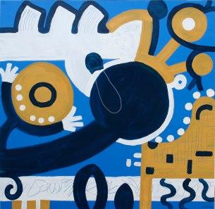 2007-024, Dichtung und Wahrheit II, Mischtechnik auf Forex, 122 x 124 cm