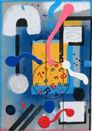 2015-050, o.T., Deklack, FIlzstift, Collage auf Karton, 64 x 44 cm