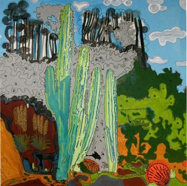 2016-026, Garten in Puntiro, Dekalack, Filzstift, Collage, 200 x 200 cm